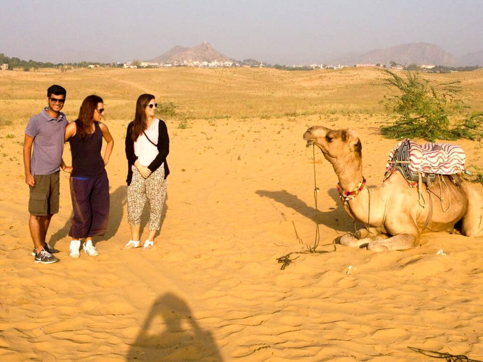 Camel-and-us-in-Pushkar-desert