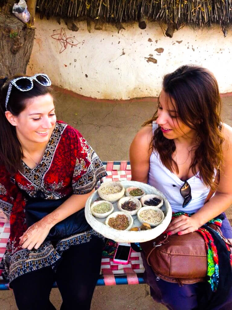 Smelling-spices-in-an-Indian-village