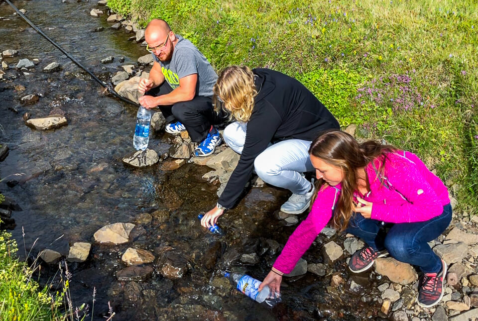 Drinking water from the streams in Iceland