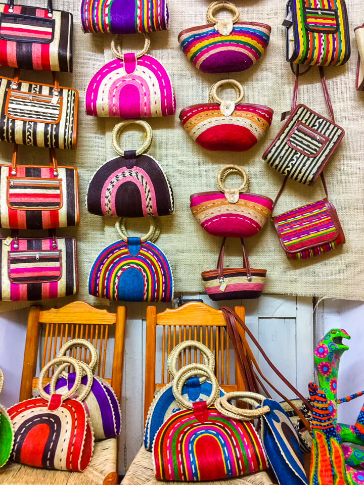 Handmade colorful bags in Mexico
