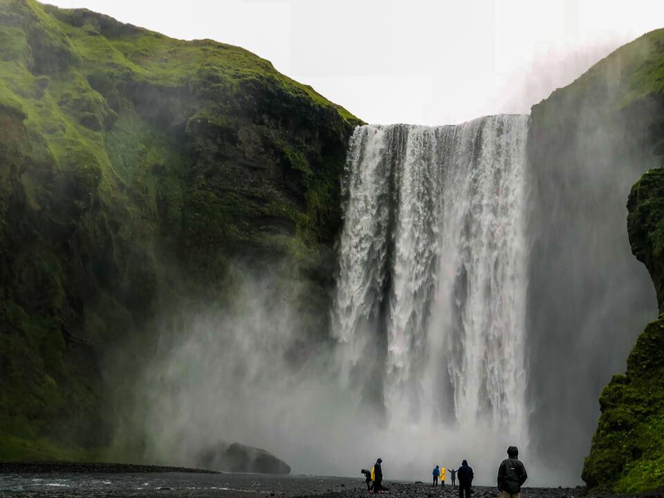 huge waterfall Skógafoss in iceland