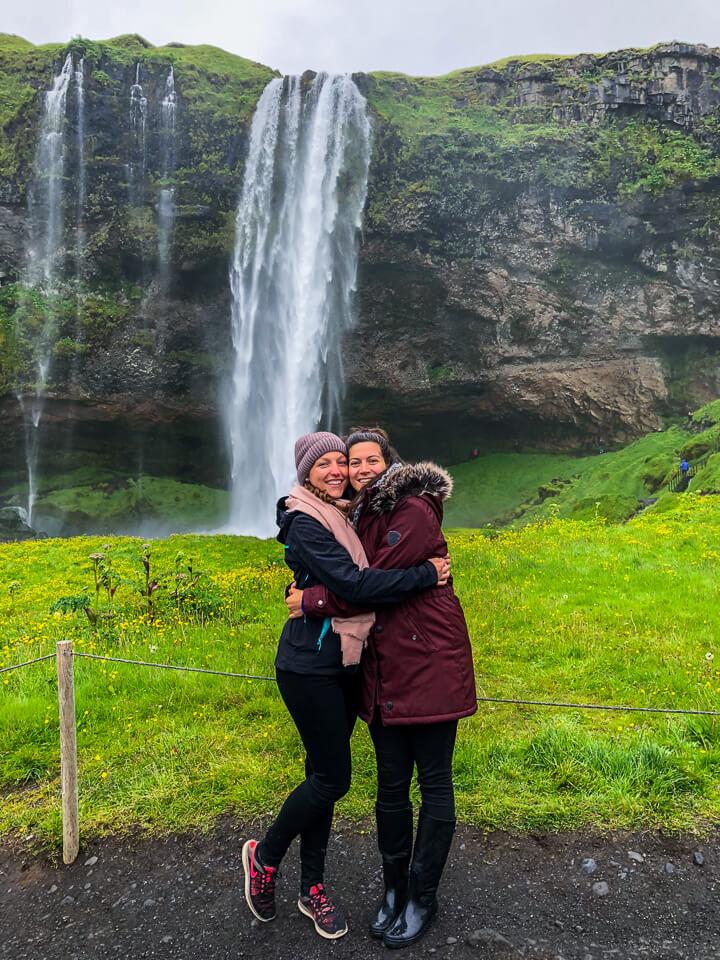 in front of Seljalandsfoss waterfall