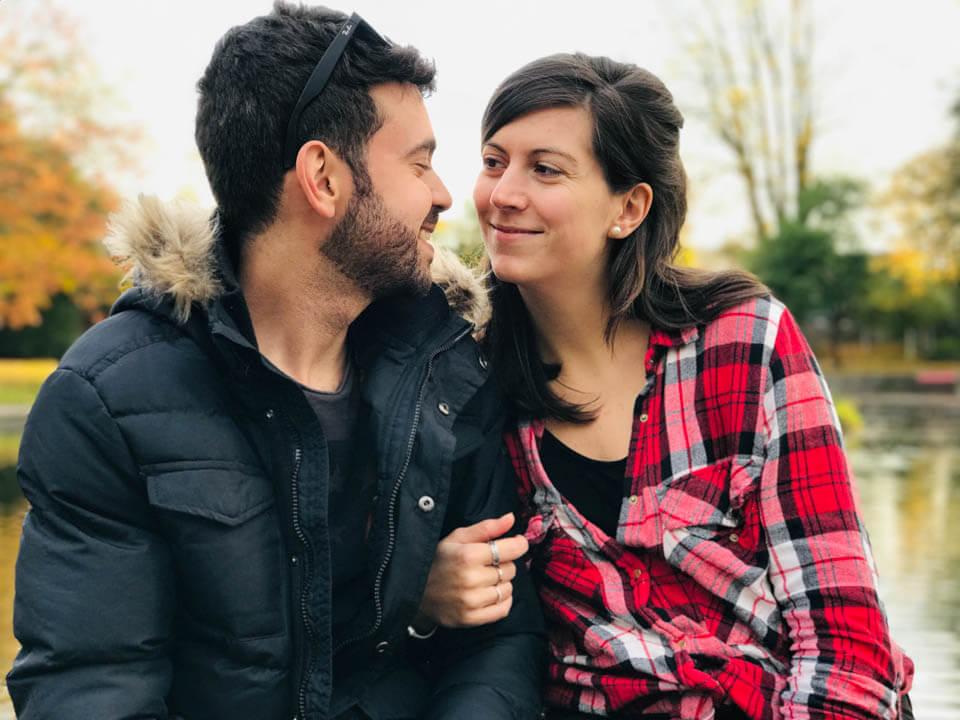 happy couple met through tinder app