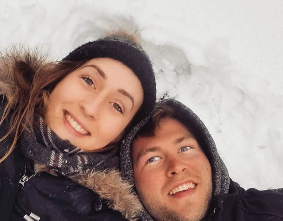 Isaac and Kate in the Canadian snow